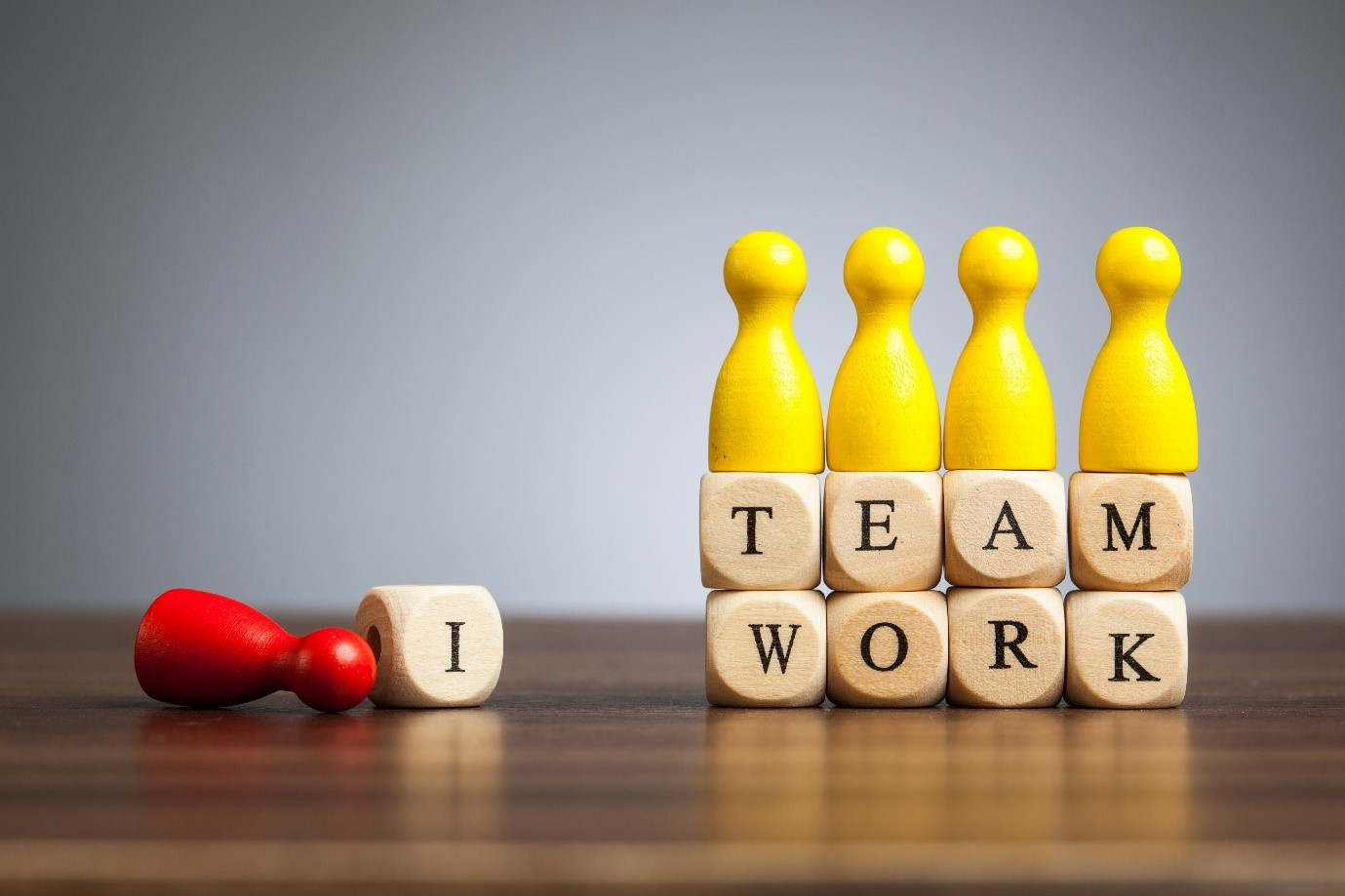Team work and Leadership. No 'I' in Team.